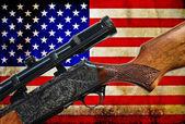 Vintage USA flag and rifle gun — Stock Photo