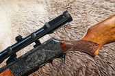Hunting cocnept - Grizzly bear fur and sniper rifle gun — Foto de Stock