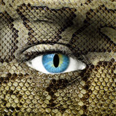 Human face with snake skin texture — Stock Photo