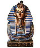 Egyptian golden pharaohs mask isolated on white - travel to Egyp — Stock Photo