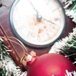 Stock Photo: Christmas ornaments and clock - Holidays background