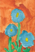 Kid watercolor drawing - Three flowers — Stock Photo