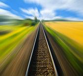 Railway track blurred — Stock Photo