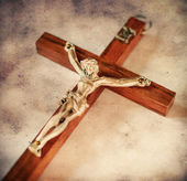 Cross with crucified Jesus Christ in vintage style — Stock Photo