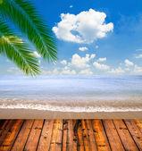 Mar tropical e praia com folhas de palmeira e piso de madeira — Foto Stock