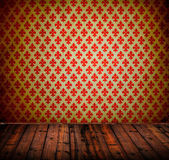 Interior of vintage room with wooden floor and damask wallpaper — Stock Photo