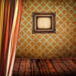 Antique room with curtain wooden floor and empty golden frame — Stock Photo