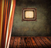 Empty old grunge room with curtain and blank vintage frame — Foto de Stock