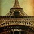 Foto Stock: Eiffel tower with vintage paper