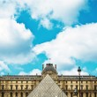 Pyramid and Louvre Museum - Paris France — Stock Photo