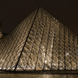 Louvre museum at dusk - Paris France - Stock Photo