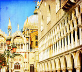Vintage image of San Marco square - Venice Italy — Stock Photo