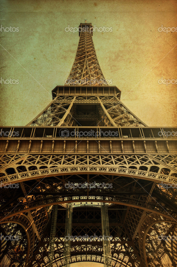 Eiffel tower with vintage paper — Stock Photo #14838819