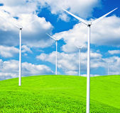 Turbines on landscape - Clean energy concept — Stok fotoğraf
