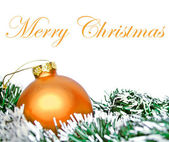 Orange christmas ornament ball with wreath isolated on white — Stock Photo