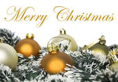 Christmas ornaments with wreath isolated on white — Stock Photo