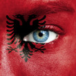 Royalty-Free Stock Photo: Human face painted with flag of Albania