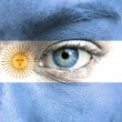 Royalty-Free Stock Photo: Human face painted with flag of Argentina