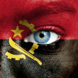 Royalty-Free Stock Photo: Human face painted with flag of Angola