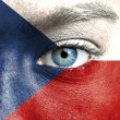 Stock Photo: Humface painted with flag of Czech Republic