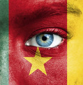 Human face painted with flag of Cameroon — Stock Photo