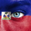 Human face painted with flag of Haiti — Stock Photo