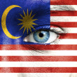 Human face painted with flag of Malaysia — Stock Photo