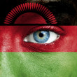 Human face painted with flag of Malawi — Stockfoto