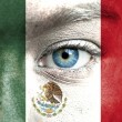 Stock Photo: Humface painted with flag of Mexico