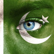Stock Photo: Humface painted with flag of Pakistan