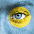 Human face painted with flag of Palau - Stock Photo