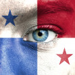 Stock Photo: Humface painted with flag of Panama