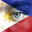Human face painted with flag of Philippines — Stock Photo