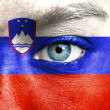 Human face painted with flag of Slovenia — Stock Photo