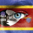 Royalty-Free Stock Photo: Human face painted with flag of Swaziland