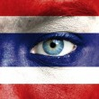 Stock Photo: Humface painted with flag of Thailand