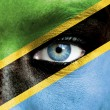 Royalty-Free Stock Photo: Human face painted with flag of Tanzania