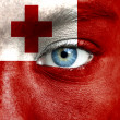 Humface painted with flag of Tonga — Stock Photo #15405849