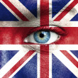 Stock Photo: Humface painted with flag of United Kingdom