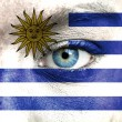 Stock Photo: Humface painted with flag of Uruguay