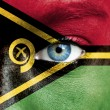 Stock Photo: Humface painted with flag of Vanuatu