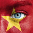 Human face painted with flag of Vietnam — Stock Photo #15406541