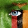 Human face painted with flag of Tanzania — Stock Photo