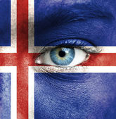 Human face painted with flag of Iceland — Stock Photo