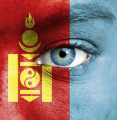 Human face painted with flag of Mongolia — Stock Photo