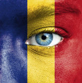Human face painted with flag of Romania — Stok fotoğraf