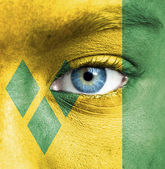 Human face painted with flag of Saint Vincent and the Grenadines — Stock Photo