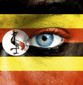 Human face painted with flag of Uganda — Stock Photo
