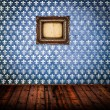 Interior of empty antique room woth wooden floor and blue damask - ストック写真