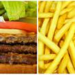 Hamburger and French fries — Stock Photo
